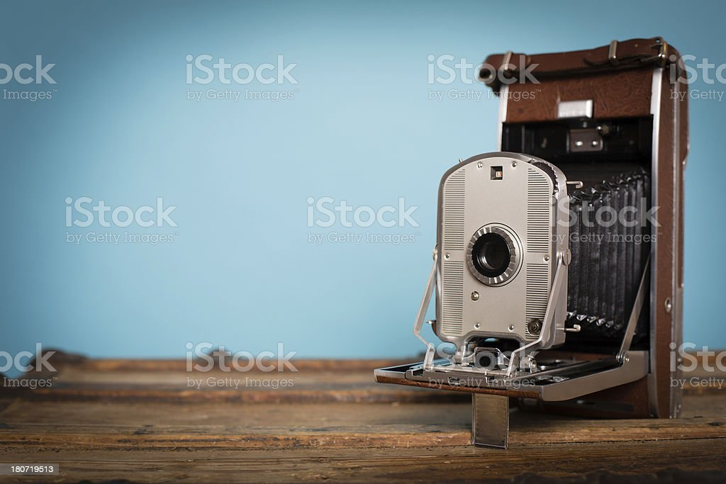 Vintage Black and Brown Bellow Camera, With Copy Space royalty-free stock photo