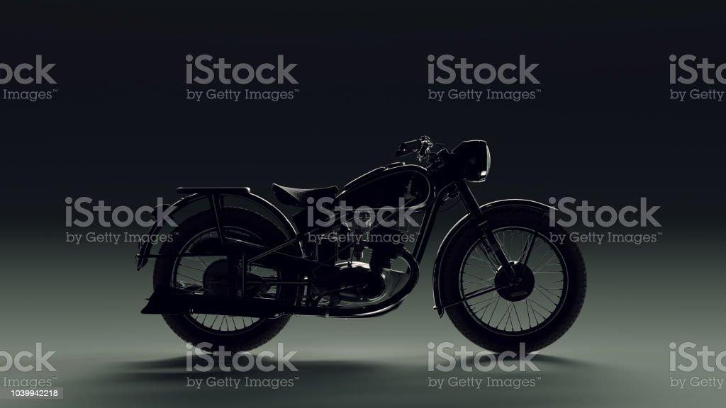 Vintage Black and Chrome Back lit Motorcycle stock photo