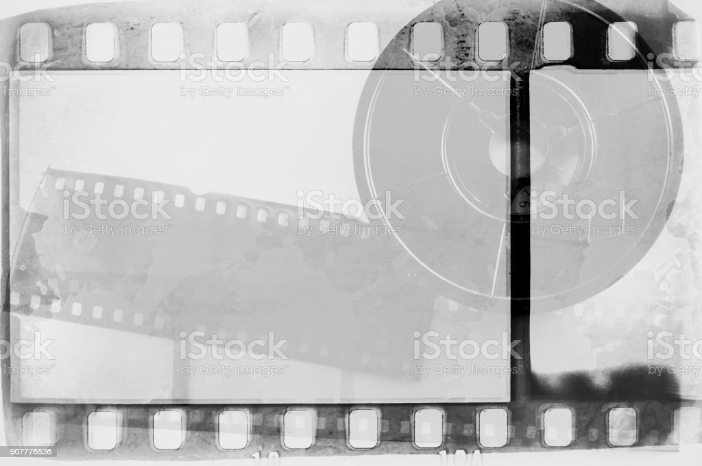 Vintage Black And White Film Strip Frame With Faded Rolled Film ...