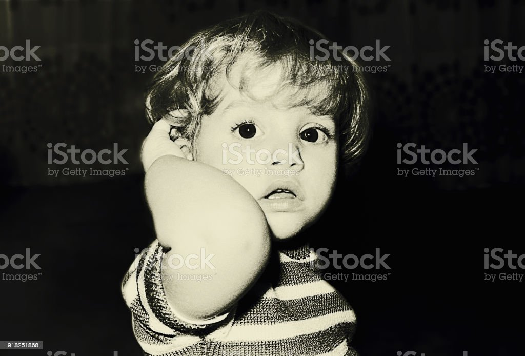 Vintage black and white toddler portrait stock photo