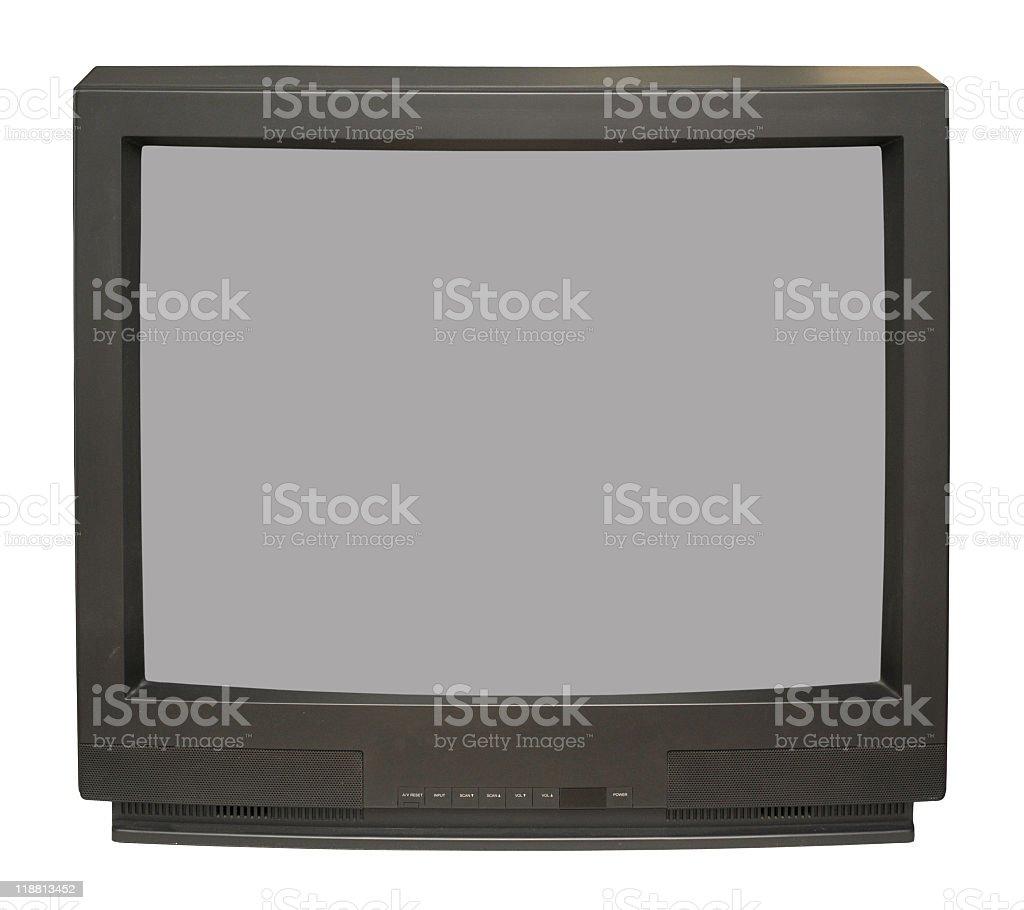 A vintage black and white TV set stock photo