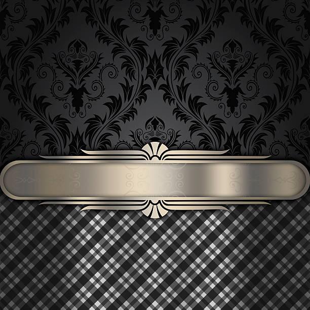 vintage black background with decorative border. - chrome menü stock-fotos und bilder