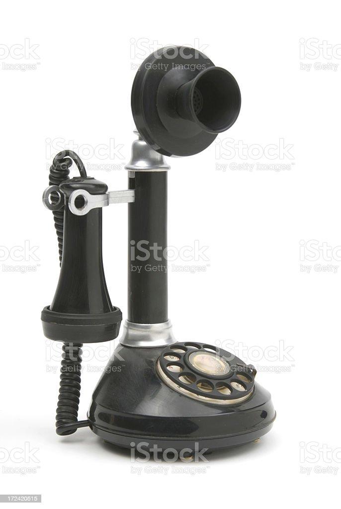 vintage black candlestick phone isolated on white stock photo