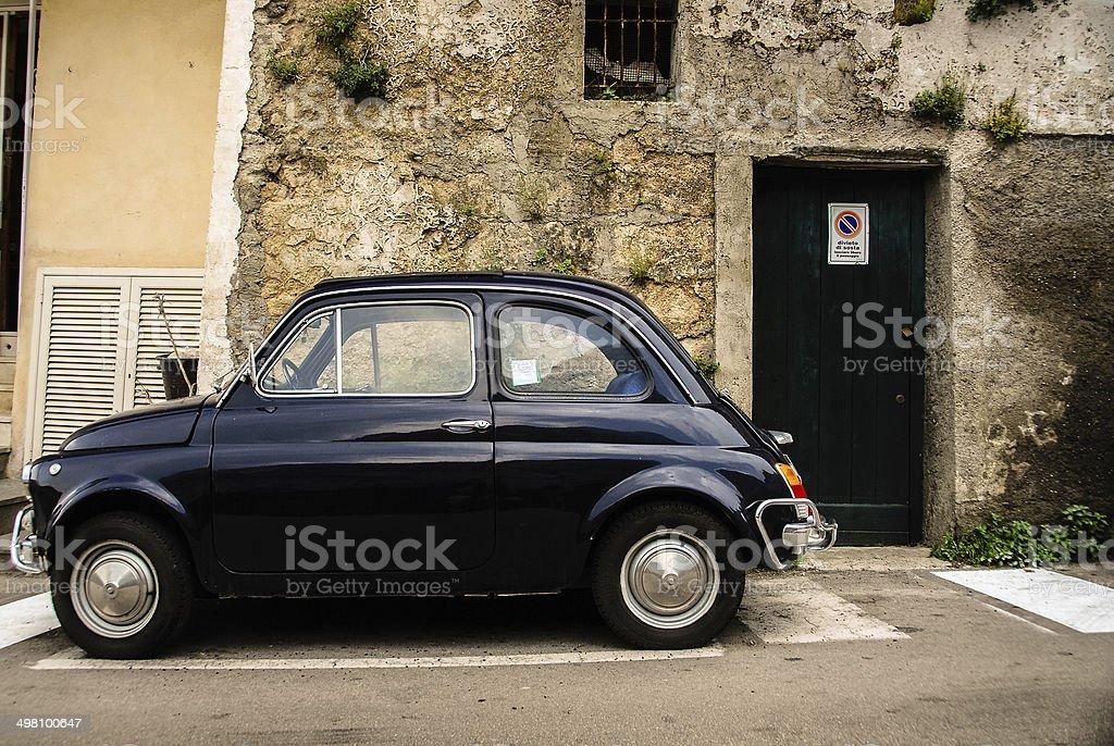 Vintage Black Fiat 500 stock photo