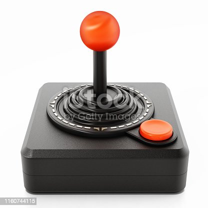 Vintage black joystick isolated on white.