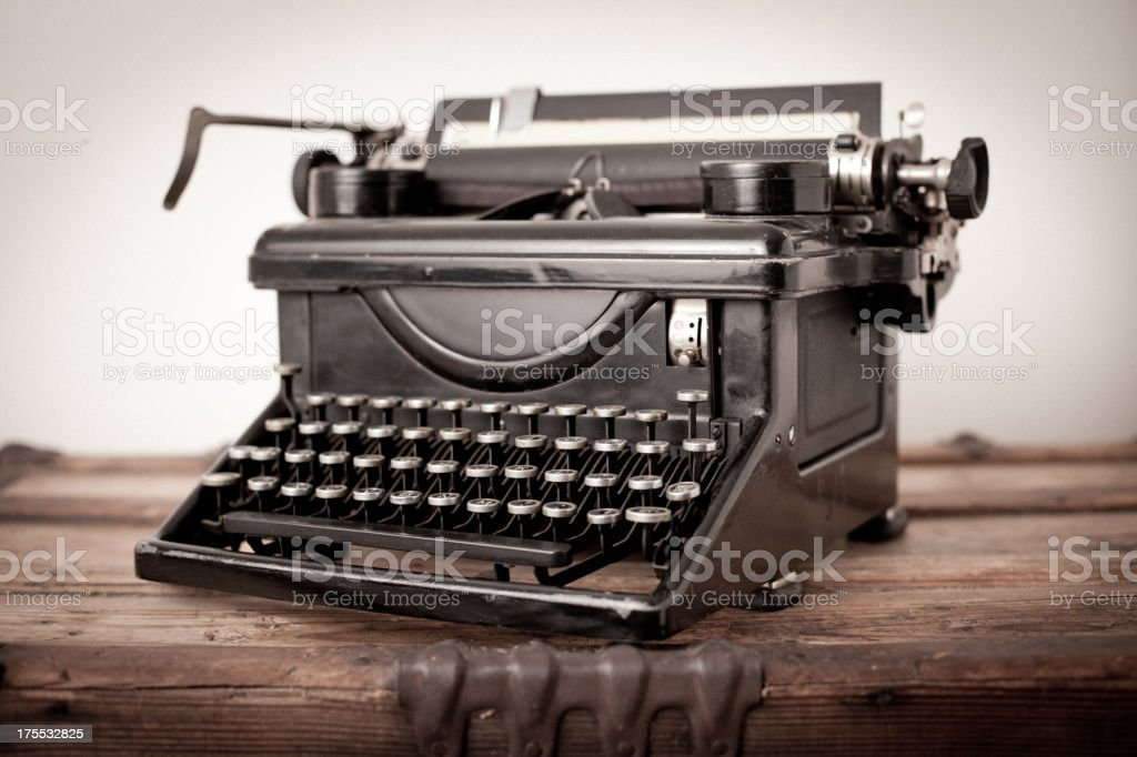 Vintage Black, Manual Typewriter, on White Background royalty-free stock photo