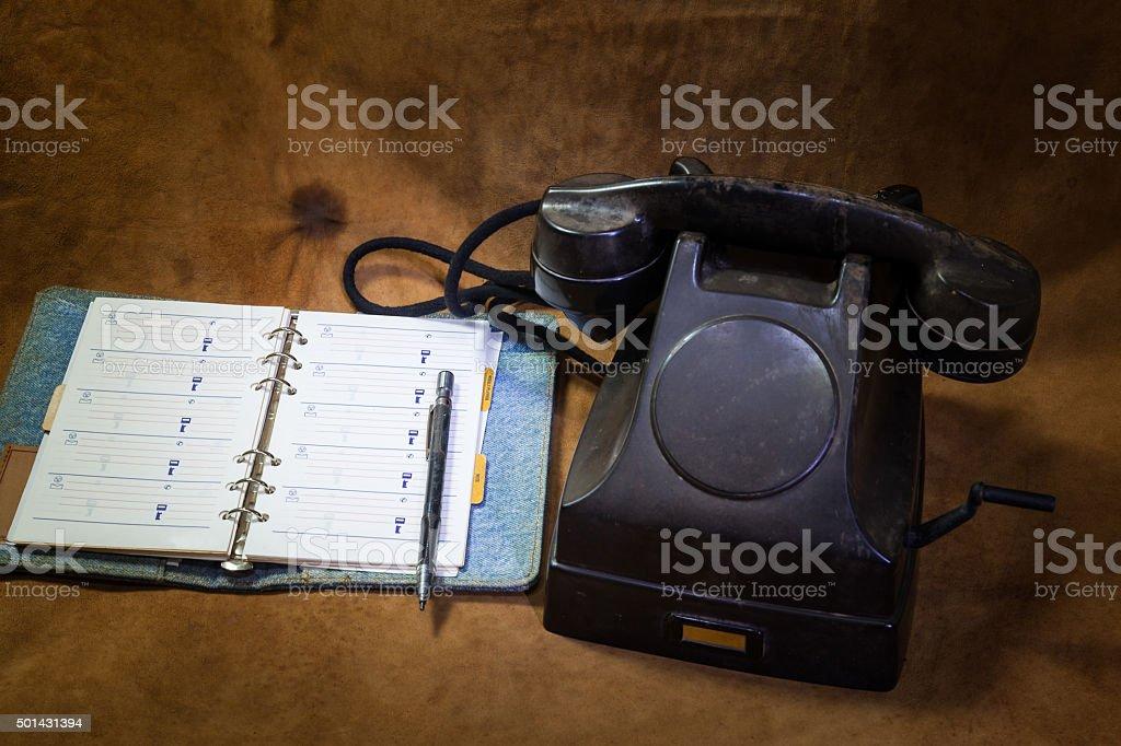 Vintage preto Telefone, telefone para reservar - foto de acervo