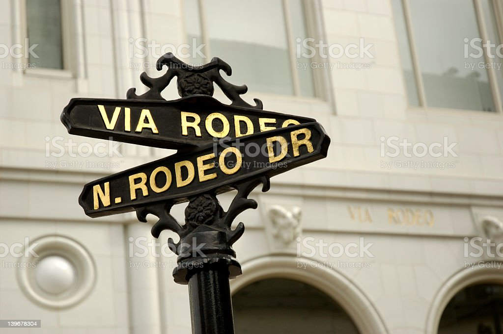 Vintage black street nameplate pointing out Rodeo Drive stock photo