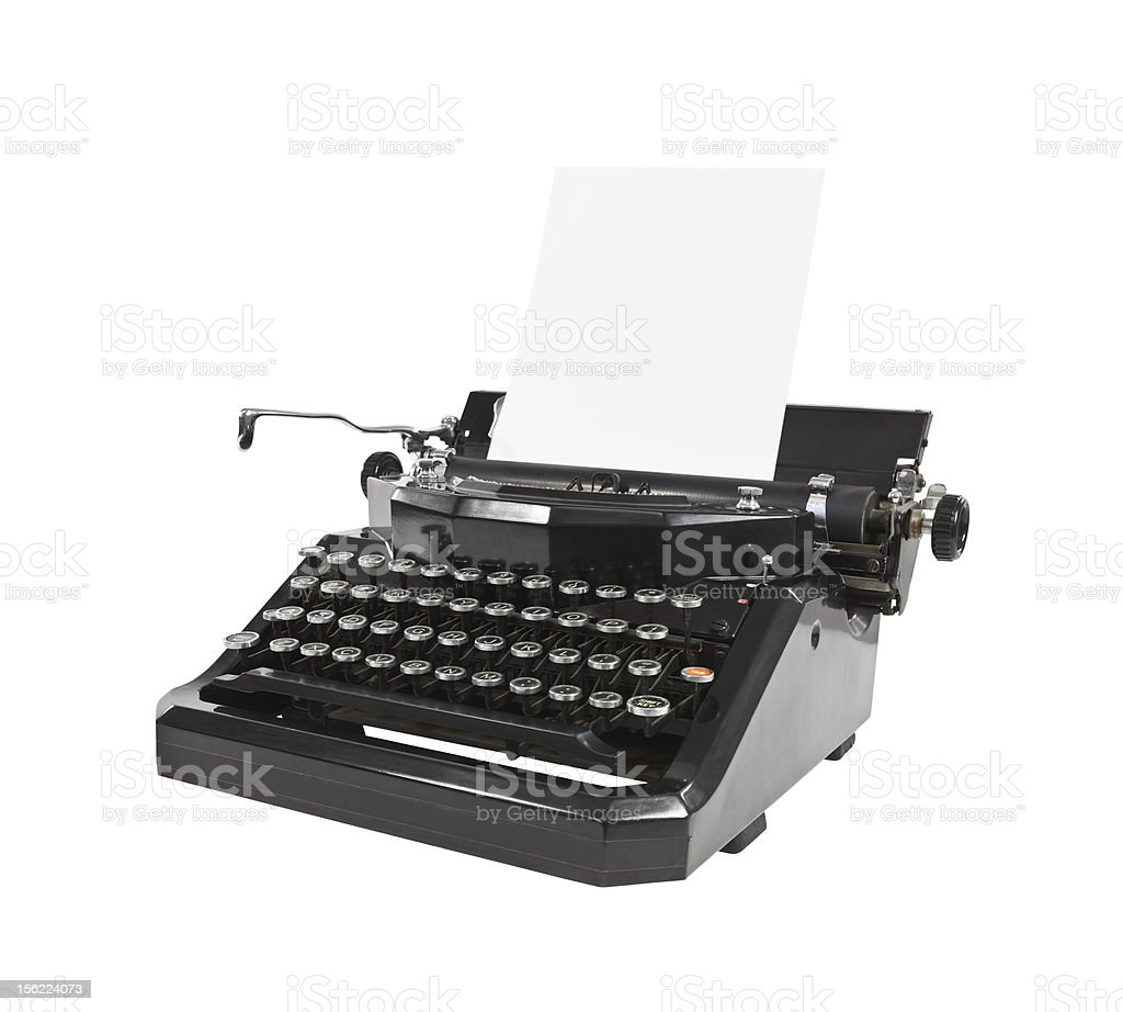 b4d7b757f95 Single Object, Antique, Black Color, Clipping Path, Cut Out. Vintage black  typewriter ...