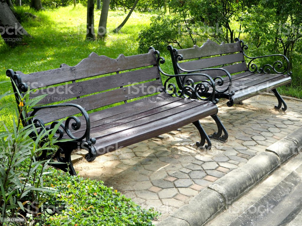 Picture of: Vintage Black Wood And Metal Benches Stock Photo Download Image Now Istock