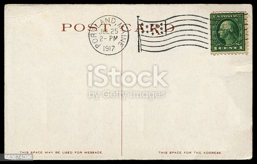 istock vintage blank American postcard sent from Portland in early 20th century 683674096