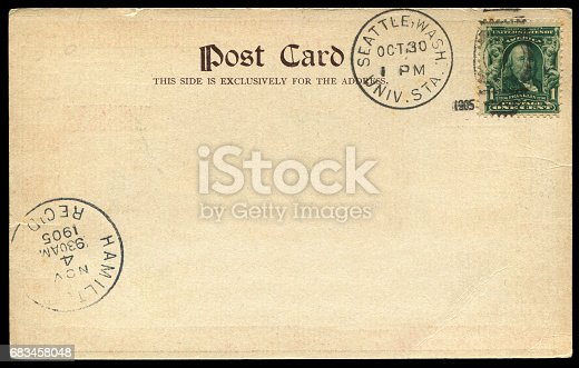 istock vintage blank American postcard sent from Seattle, Washington in early 20th century 683458048