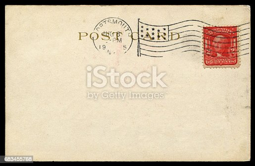 istock vintage blank American postcard sent from USA in early 20th century 683455768