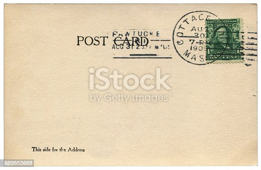 istock vintage blank American postcard sent Massachusetts in early 20th century 689853668