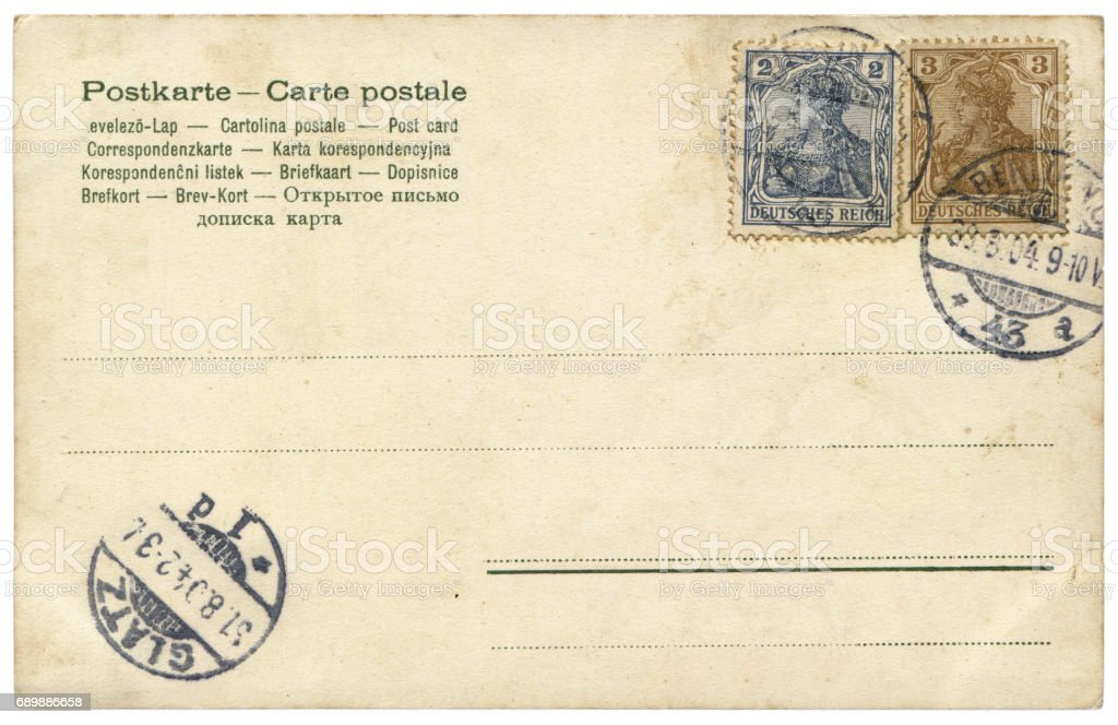 vintage blank German postcard sent from Berlin in early 20th century stock photo
