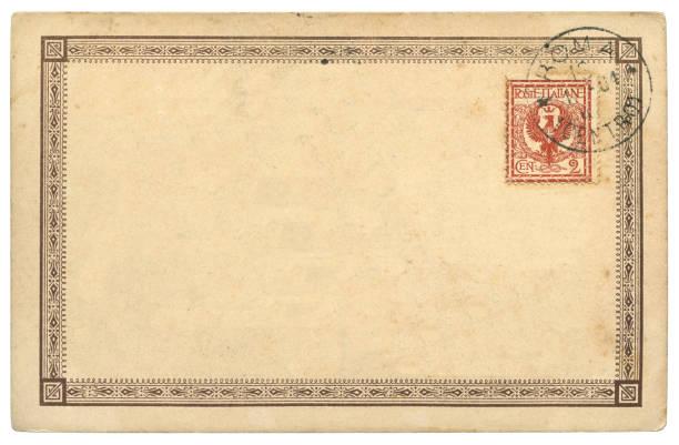 vintage blank Italian postcard sent from Roma, Italy in 1904 stock photo