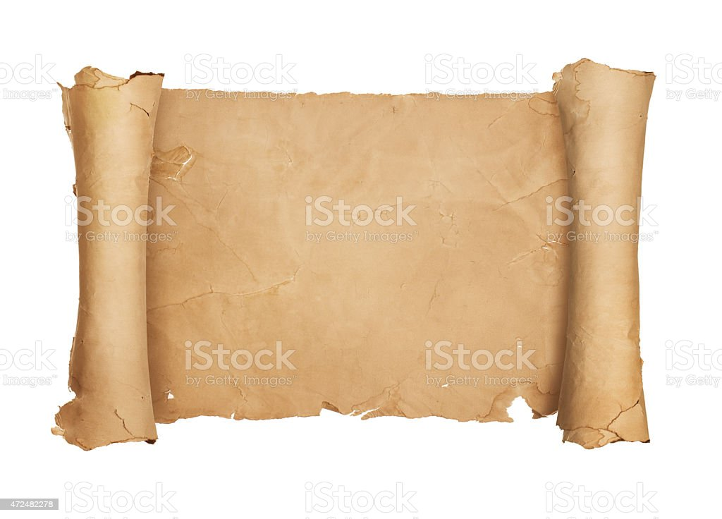Vintage blank paper scroll stock photo
