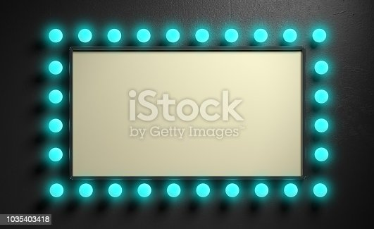 istock Vintage blank sign with blue lights bulbs on black wall background. 3d illustration 1035403418