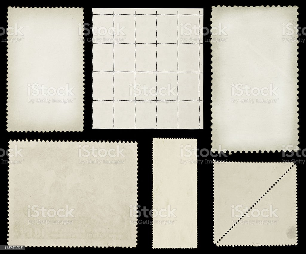 Vintage blank stamps on black royalty-free stock photo