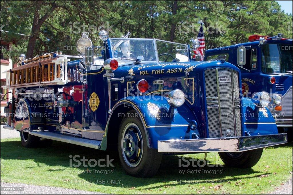 Vintage blue 1949 Ward LaFrance fire truck stock photo