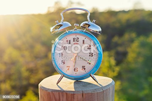 istock Vintage blue alarm clock on summer forest background 905623256