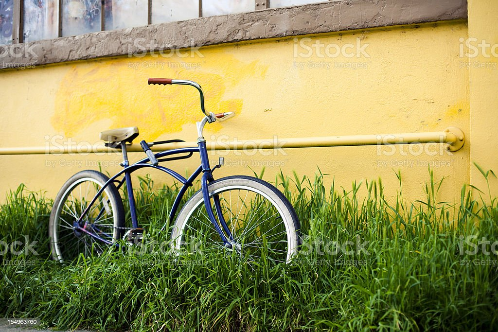 Vintage blue bicycle royalty-free stock photo