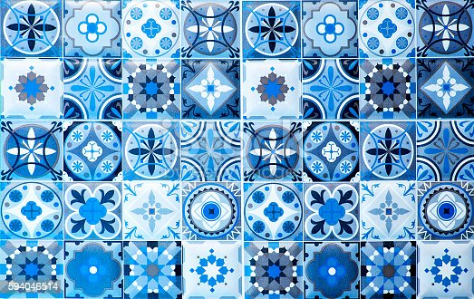 istock vintage blue ceramic tiles wall decoration.Turkish ceramic tiles 594046514