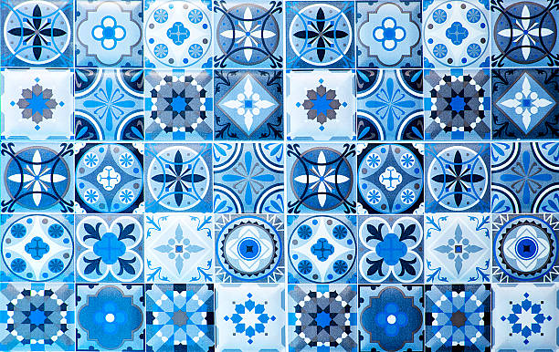 vintage blue ceramic tiles wall decoration.turkish ceramic tiles - mediterranean culture stock photos and pictures