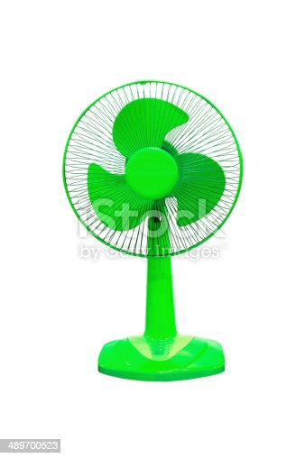 898247648 istock photo vintage blue electric fan on white background 489700523