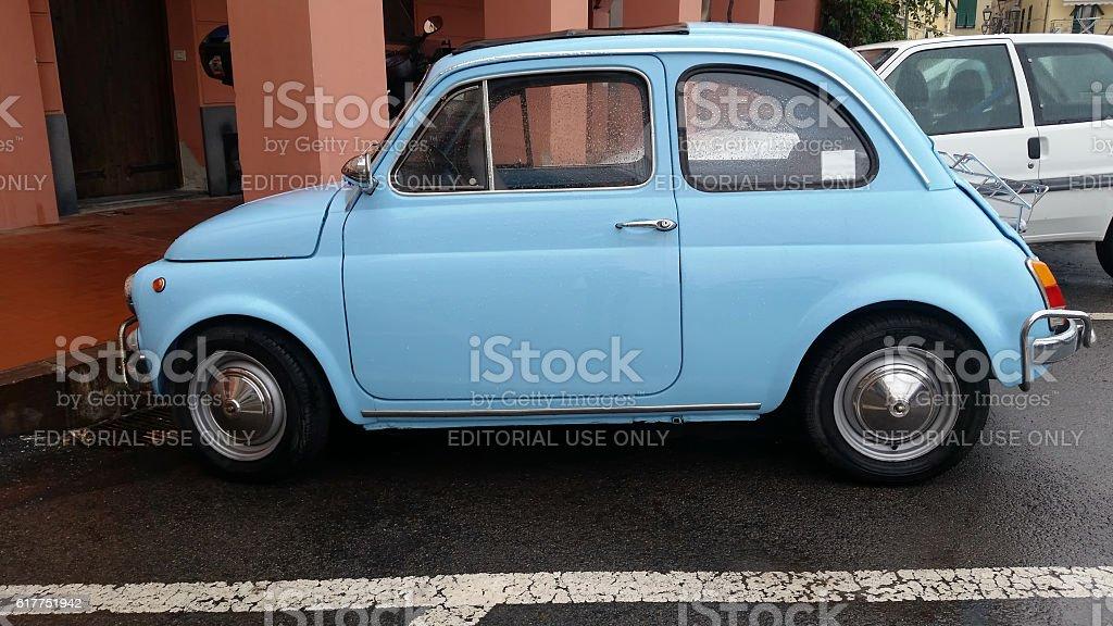 Vintage Blue Fiat 500 L stock photo