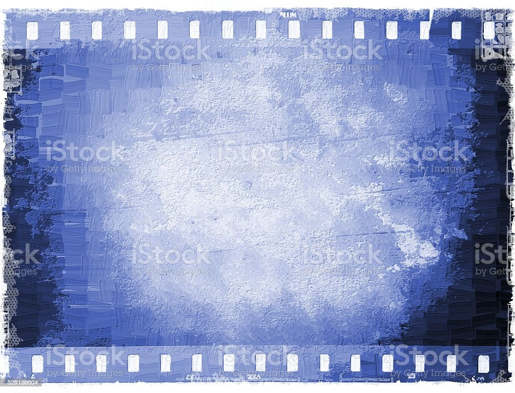 Vintage blue film strip frame in oil painting style stock photo