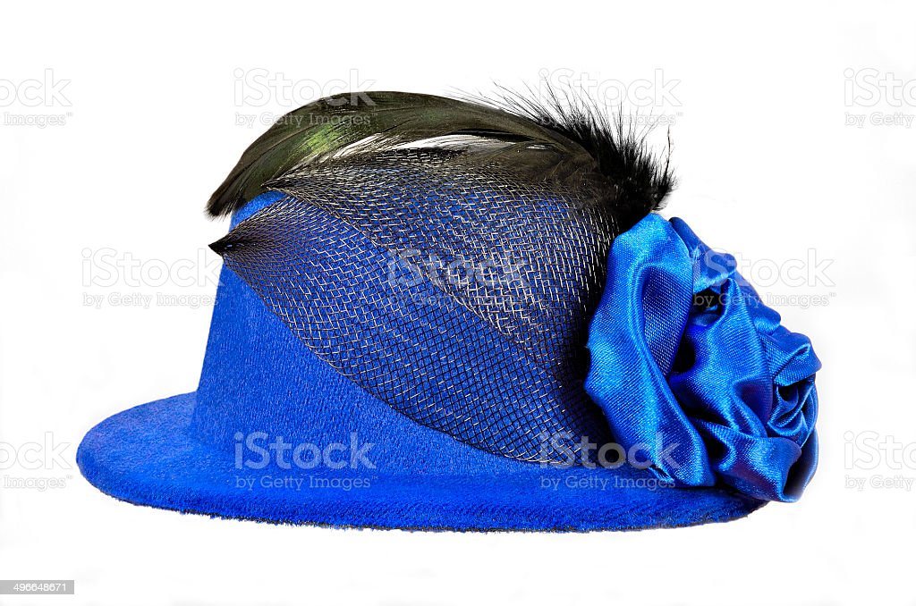 Vintage blue lady's hat with black feathers and textiles decorated stock photo