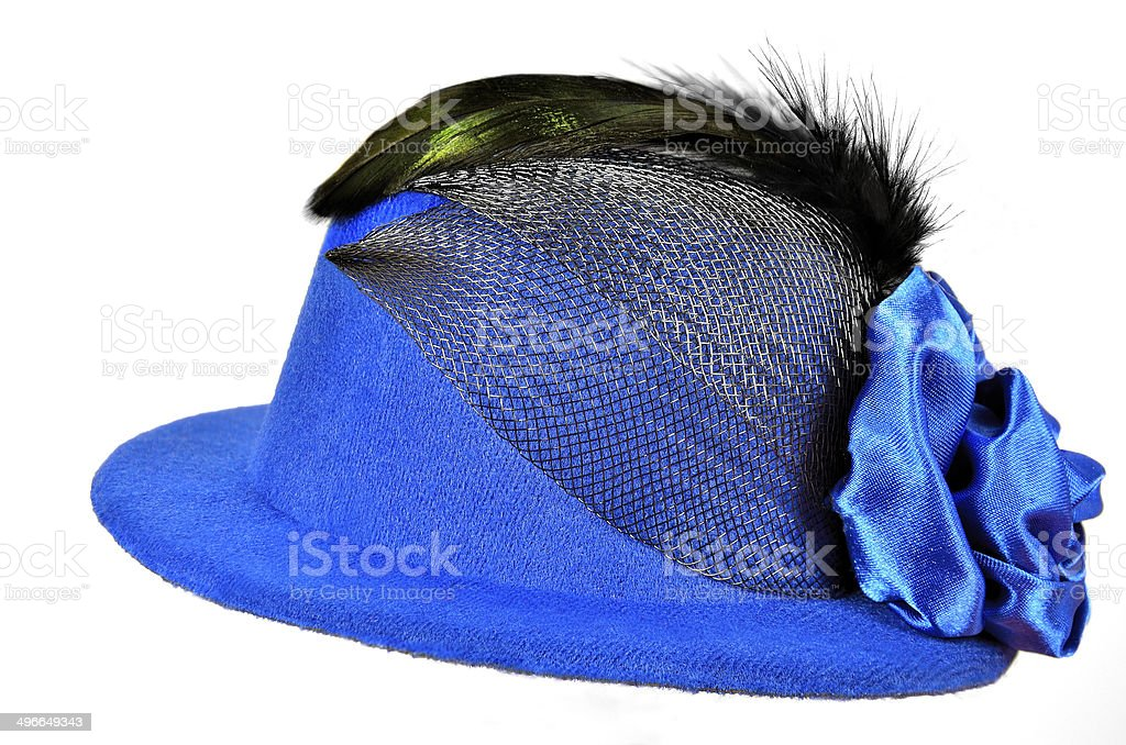 Vintage blue lady's hat with black feathers stock photo