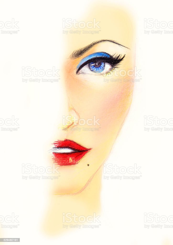 Vintage Blue Shades of women makeup in half drawn stock photo