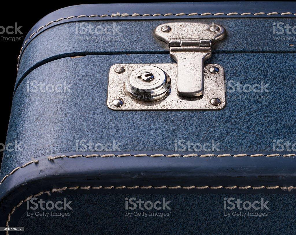 Vintage Blue Suitcase stock photo