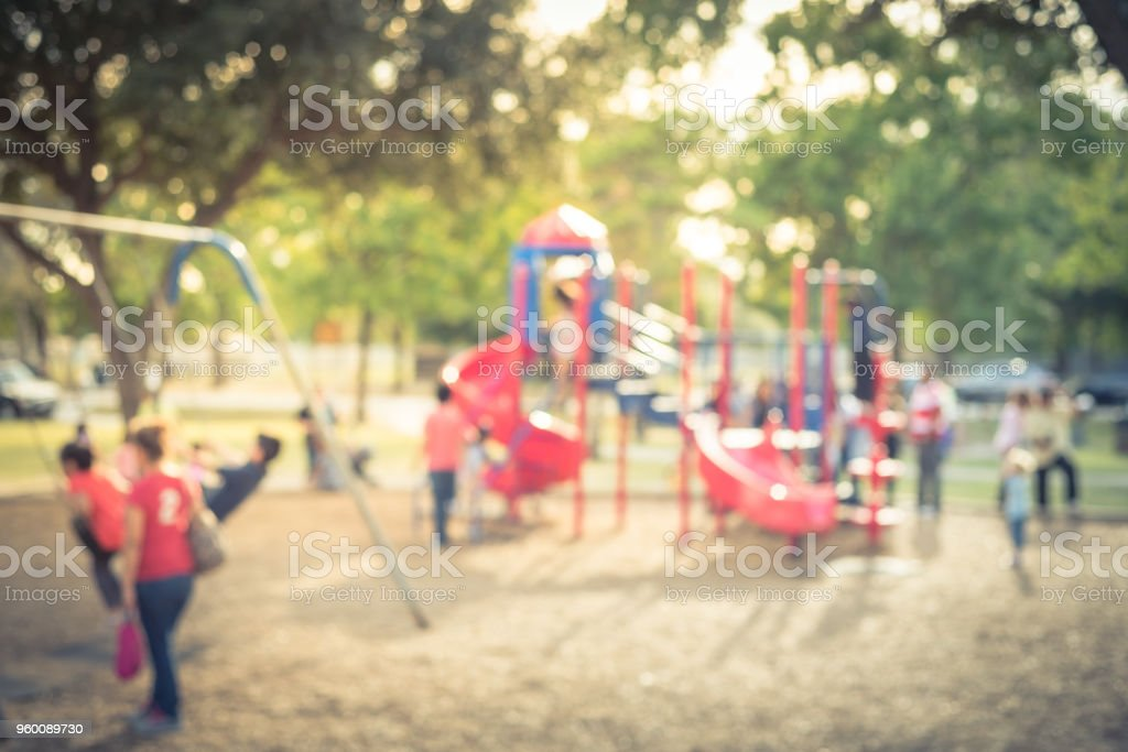 Vintage blurred colorful playground at public park in Houston, Texas, USA stock photo