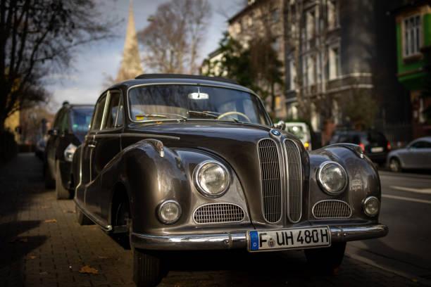 A vintage BMW car in Frankfurt. stock photo