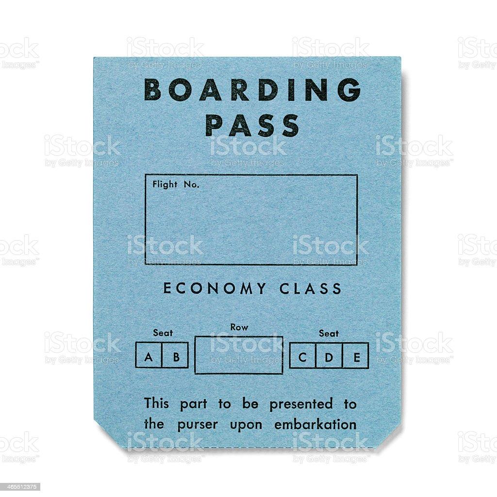 Vintage boarding pass on white - Economy Class royalty-free stock photo