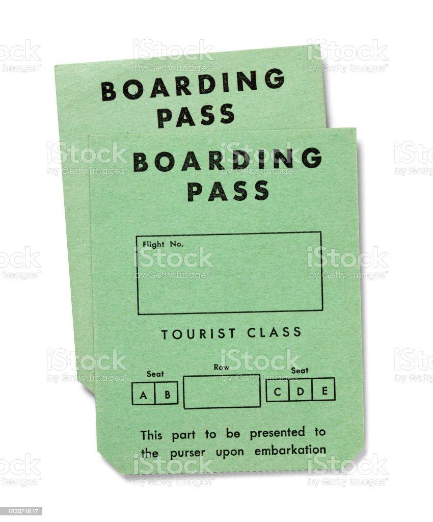 Vintage boarding passes on white -Tourist Class royalty-free stock photo