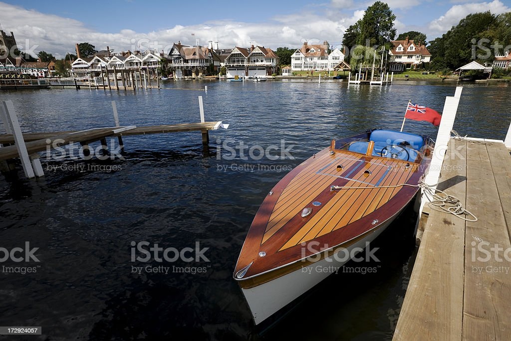 Vintage Boat at Henley on Thames stock photo