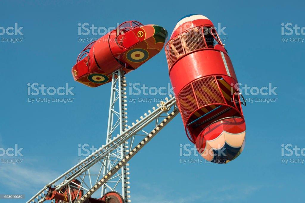 Vintage bomber swing at funfair stock photo