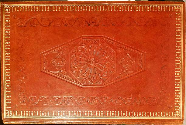 Copertina vintage libro Benevento, Campania, Italy - January 21, 2016: leather cover of a book by Tommaso Campanella printed in Naples in 1848 libro stock pictures, royalty-free photos & images