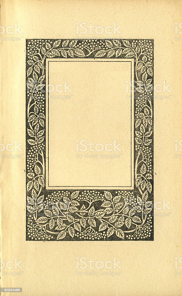 Vintage Book Page With A Frame Of Elder Berries royalty-free stock photo