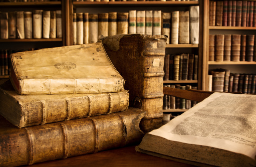 istock Vintage books in a library 171147727