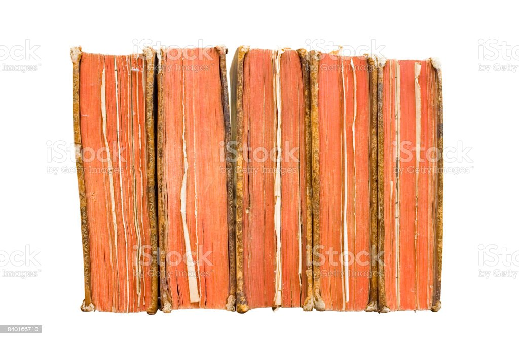 vintage books in a row, isolated stock photo