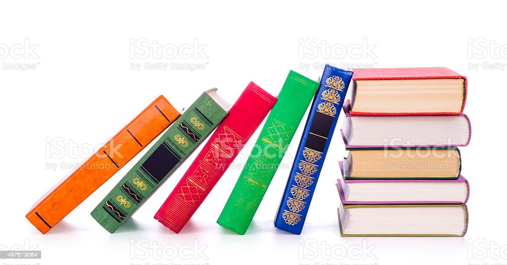 Vintage books in a row stock photo