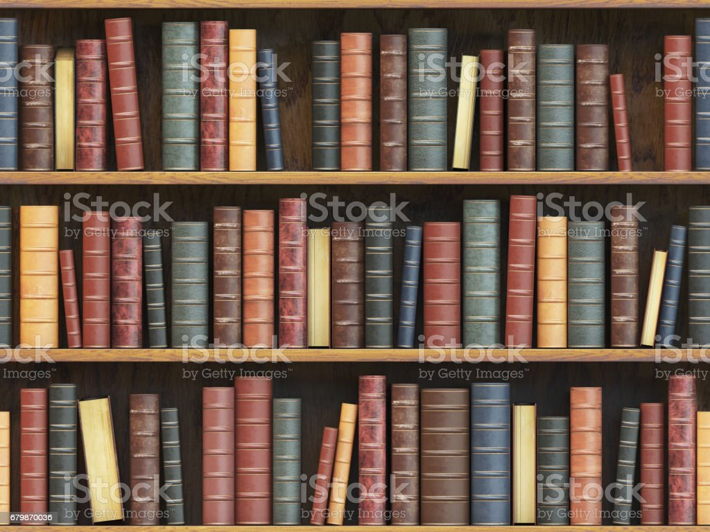 Vintage libros en estantería. Libros antiguos fondo textura sin fisuras de baldosas - foto de stock