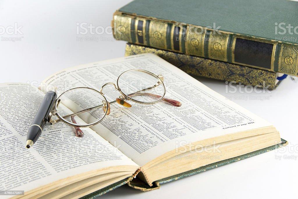 vintage books stock photo