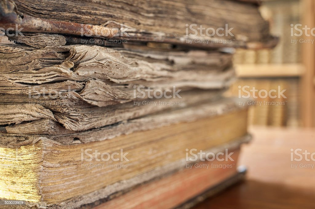 Vintage books stacked close-up royalty-free stock photo