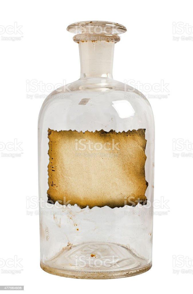 Vintage bottle isolated. stock photo